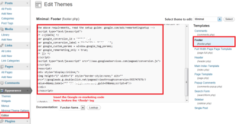 Google remarketing code in wordpress